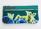 Image of -S O L D- a double zip clutch in deep teal with vintage floral appliques (d)