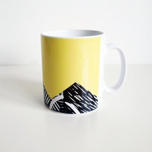 Image of Yellow lino print design mug
