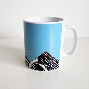 Image of Blue lino print design mug