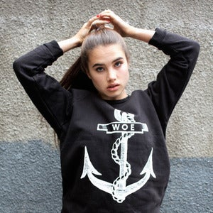 Image of WOE ANCHOR black oversize sweatshirt