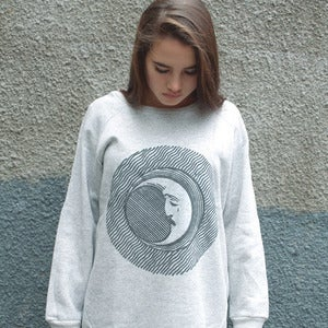 Image of MOON FACE grey oversize sweatshirt