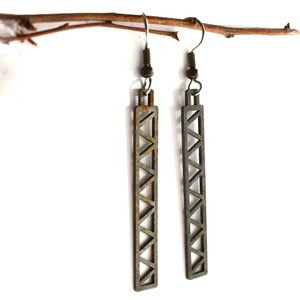 Image of Steel Town Long Triangle Earrings