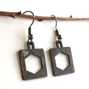 Image of Steel Town Square Bolt Earrings