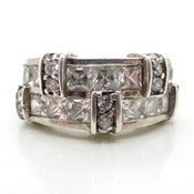 Image of Vintage Art Deco Style Silver Stacked Modernist Rhinestone Cocktail Ring