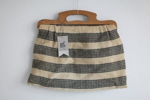 Image of 1950s stripy knitting bag