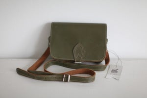 Image of 1970s small olive leather satchel