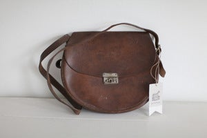 Image of 1940s leather saddle bag