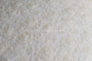 Image of * ON SALE * Ivory Eyelet Flower Fabric for Backdrops or Bean Bag Covers - 2 YARDS