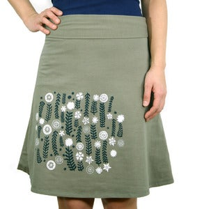 Image of Cotton Blend A-line High Waisted Skirt with Wildflowers (Olive)