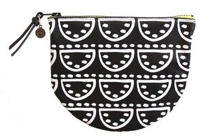 Image of Clamshell Pouch- Black Leather with White Watermelon Pattern
