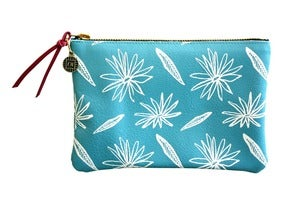 Image of Wallet Pouch- Baby Blue Leather with White Flowers