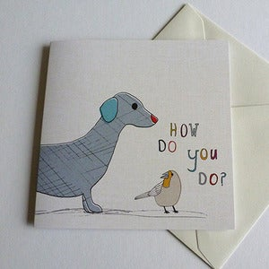 Image of Dog and Bird Greeting Card