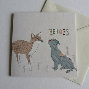 Image of Dog and Fox Greeting Card