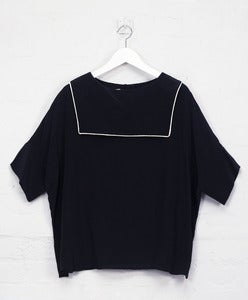Image of Black Silk 'Backwards' Sailor Top<br>