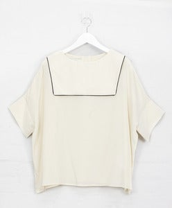 Image of Ivory Silk 'Backwards' Sailor Top