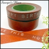 Image of Flame Red Two Set - Corowell Text & Plain Washi Tape - Japanese Masking / Smash / Tissue Tape