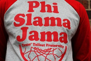 "Image of Draft Packs x CHAMPION: ""Phi Slama Jamma"" Raglan l Grey/Red"