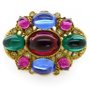 Image of Vintage 1970s Jewel Tone Vibrant Rainbow Brooch