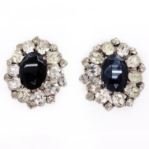 Image of Vintage Large Rhinestone Paste Floral Glass Black & White Clip On Earrings
