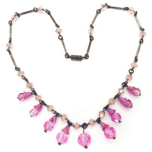 Image of Vintage Art Deco Czech Pink Floral Drop Faceted Satin Glass Bead Necklace