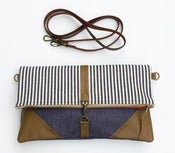 Image of - S O L D - foldover bag in vintage denim + conductor stripe