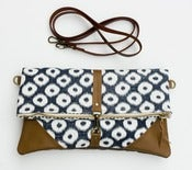 Image of foldover bag in ikat dots