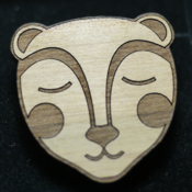 Image of Peaceful Bear Wooden Brooch