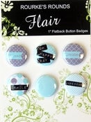 "Image of Mauve & Pale Blue Happy Day Flair - 6 x 1"" Flatback Buttons / badges - Rourke's Rounds"