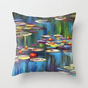Image of Water Lilies Designer Fabric Throw Pillow
