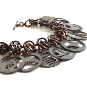 Image of Pittsburgh inspired &quot;twisty&quot; Charm bracelet