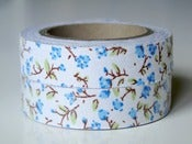 "Image of Fabric tape ""Blue flowers"""