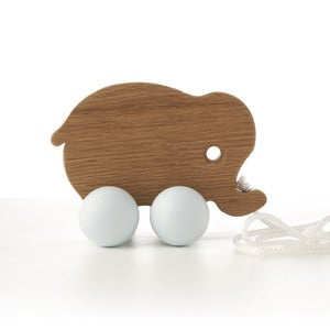 Image of Baby elephant pull along toy - duck egg blue