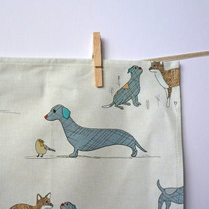Image of Curious Dog and Friends Tea Towel