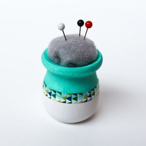 Image of Teal & White Teeny, Tiny Modern Pincushion