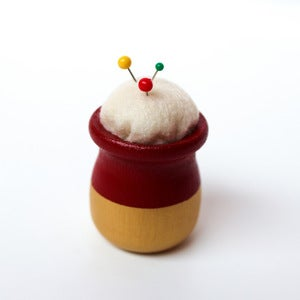 Image of Red & Gold Teeny, Tiny Modern Pincushion