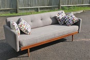 Image of Newly restored vintage Danish style sofa-bed designed circa 1950/60s