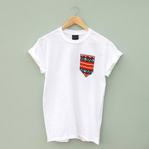 Image of Red Aztec Pocket Tee by Patch Apparel 