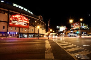 Image of Wrigley Field night time photograph print by Ryan Russell