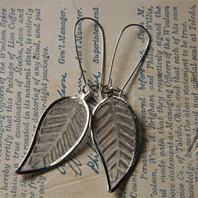 Image of Silver Leaf Earrings by Larissa Loden