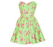 Image of Green Floral vintage Style Party Dress
