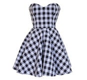 Image of Monochrome Check Party Dress 