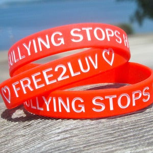 Image of FREE2LUV/BULLYING STOPS HERE RED Wristband
