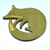 Image of Sleeping Fox Wooden Brooch
