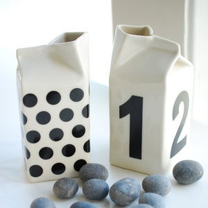 Image of Black Numbers or Polkadot Milk Jug