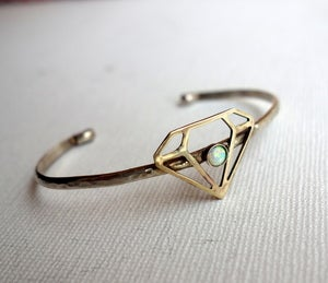 Image of Sterling and Brass Gemstone Shape Cuff