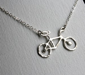 Image of Tiny Sterling Silver Bike Necklace