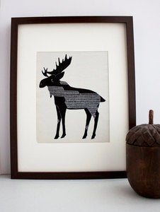 Image of Winter Moose Illustration: Antler Animals Series by Gingiber