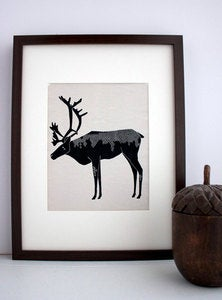 Image of Winter Caribou Illustration: Antler Animals Series by Gingiber
