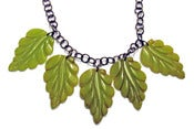 Image of Leaves Carved Resin Necklace by Hotcakes Design