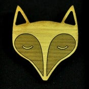 Image of Peaceful Fox Wooden Brooch